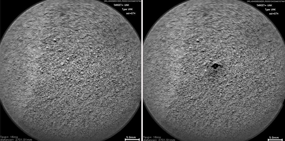 Montage de deux images montrant un test du laser de ChemCam sur un sol non consolidé