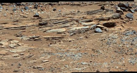 Strates de la partie la plus méridionale de l'affleurement stratifié nommé Shaler, sol 120