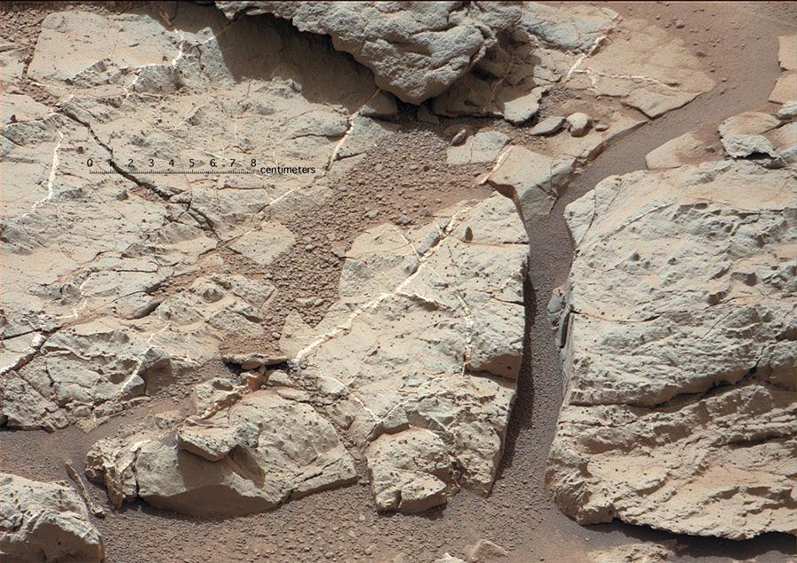 Image (avec échelle fournie par la NASA) montrant que cette formation riche en sphérules est parcourue de filonnets blancs