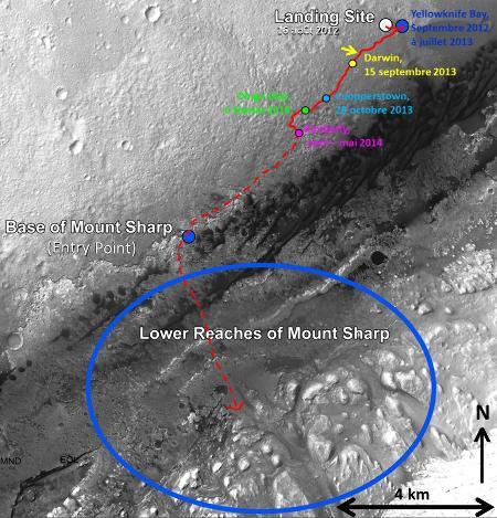 Trajet déjà effectué par Curiosity et trajet restant à faire pour atteindre le mont Sharp (état fin mai 2014)
