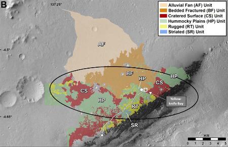 Carte morphologique détaillée établie à l'aide des images haute résolution des différentes missions orbitales