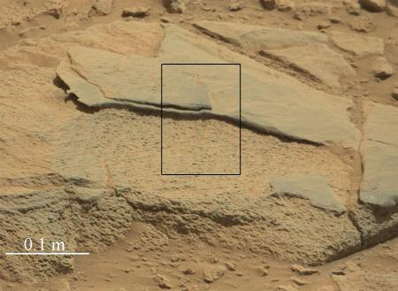 Gros banc du site de Cooperstown, avec alternance de grès fins et de grès grossier (sol 439, 30 octobre 2013)