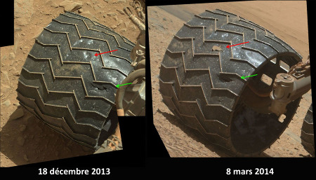 """Le 18 décembre 2013 (sol 486), lors d'une pause (prévue) pour une """"révision générale"""", la NASA s'aperçoit que les bandes de roulement de ses roues sont beaucoup plus abîmées que prévues, avec des traces de chocs et même des ruptures et des perforations"""