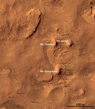 Carte du trajet de Curiosity dans le secteur de Kimberley établie le 22 mai 2014 (sol 637)