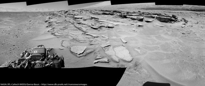 Gros plan sur la discordance du relief sans nom situé au SE du Mont Remarkable (sol 630, 15 mai 2014)