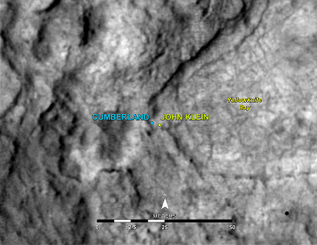 Localisation du rocher Cumberland où a été effectuée la deuxième campagne de forage, à 5m de John Klein