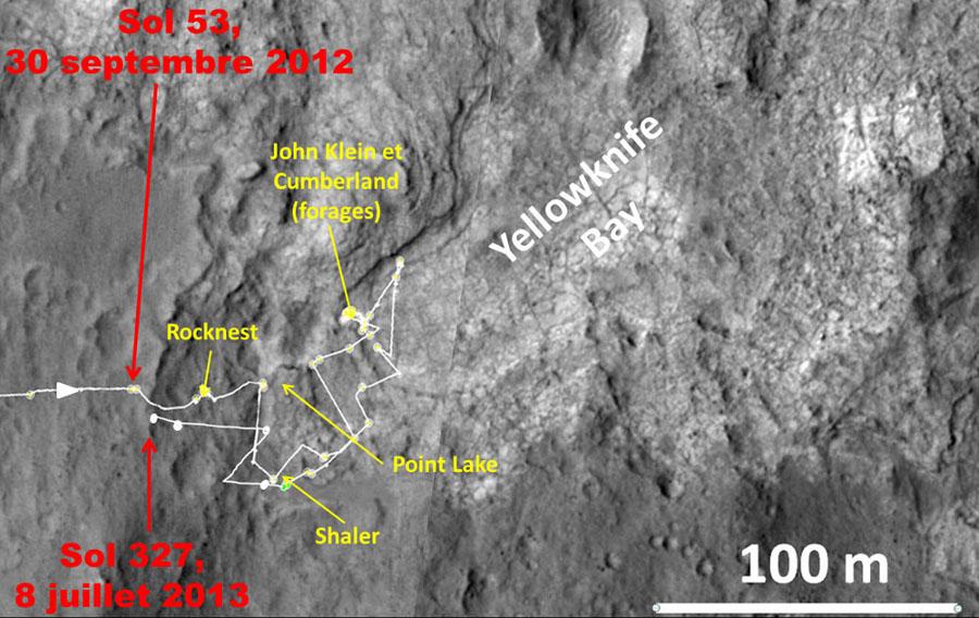 Carte détaillée des 274 sols du trajet de Curiosity dans le secteur de Glenelg / Yellowknife Bay