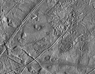 Détail de la surface d'Europe, vu par Galileo