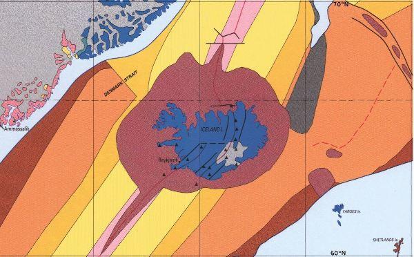 Carte géologique générale de l'Islande sur la dorsale atlantique