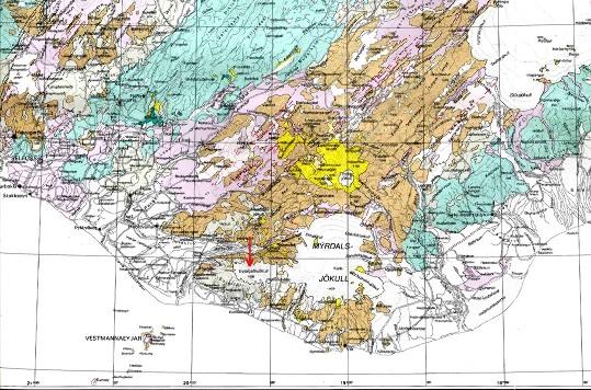 Carte géologique du Sud de l'Islande