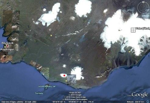 Situation de l'Eyjafjöll dans le Sud de l'Islande