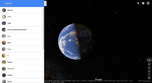 Panneau principal de Google Maps Space