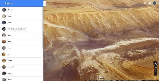 Vue oblique de Candor Chasma, sur Mars, générée avec Google Maps Space