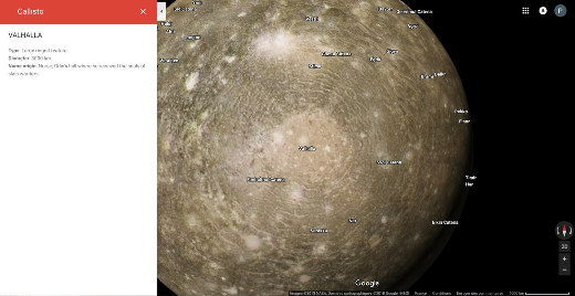 Vue du bassin d'impact Valhalla sur Callisto, satellite de Jupiter