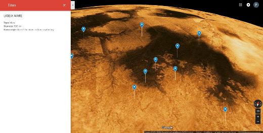 Vue de la région polaire Nord de Titan, le plus gros satellite de Saturne