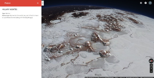 Vue de la surface de Pluton en bordure de la calotte Sputnik Planum