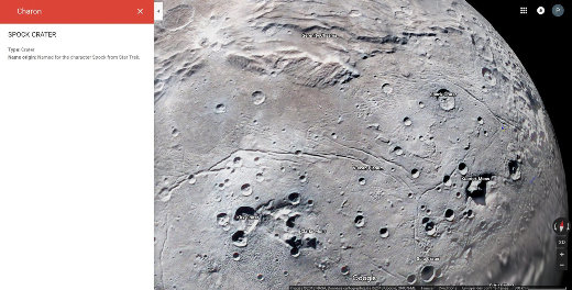 Vue de la surface de Charon, plus gros satellite de Pluton