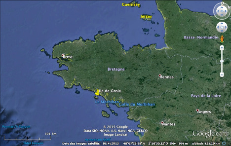 Localisation de l'ile de Groix en Bretagne