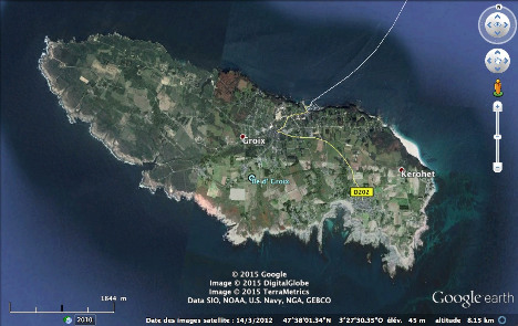 Vue aérienne de l'ile de Groix