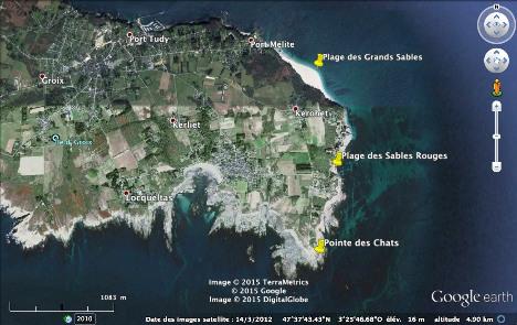 Localisation des trois principaux affleurements étudiés sur la côte orientale de l'ile de Groix