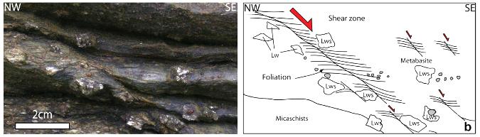 Bande de cisaillement ductile dans les métabasises à pseudomorphoses de lawsonites de l'ile de Groix