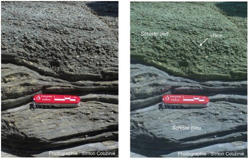 Exemple de contact schistes bleus – schistes verts dans la partie médiane de l'ile de Groix (Pointe des Chats)