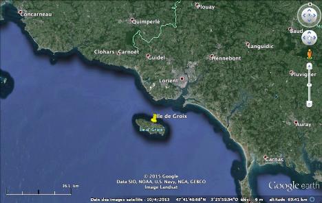 Localisation de l'ile de Groix, au large de Lorient