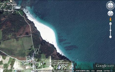 Vue aérienne de la plage convexe des Grands Sables, ile de Groix