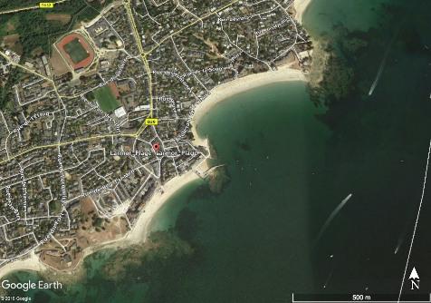 Vue aérienne de la plage concave de Larmor-Plage, Morbihan