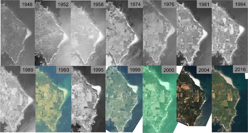 Série chronologique d'images montrant la migration de la plage des Grands Sables de 1948 à 2016