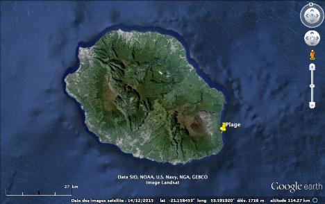 Localisation de la plage du Tremblet, ile de La Réunion