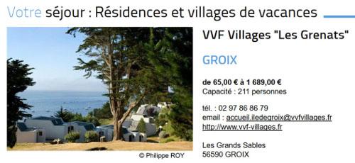"""Village de vacances """"les grenats"""", ile de Groix"""