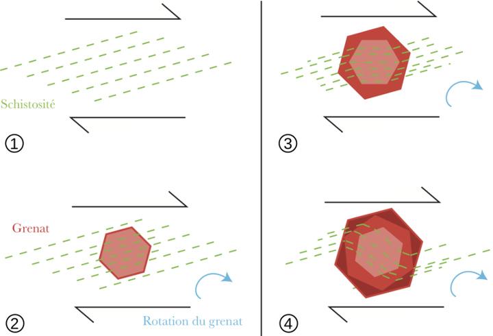 Schéma théorique de formation des inclusions hélicitiques dans les grenats