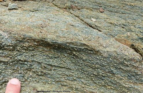 Métabasites de faciès schistes verts de la Pointe des Chats, ile de Groix