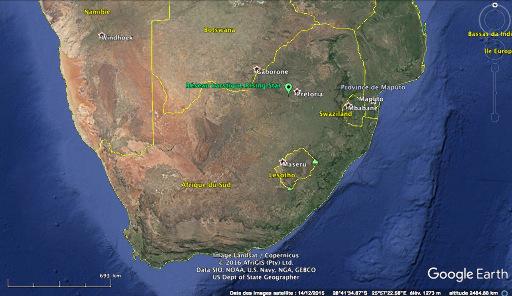 Localisation sur Google Earth du réseau de grottes Rising Star aux environs de Pretoria, où ont été trouvés les fossiles d'Homo naledi