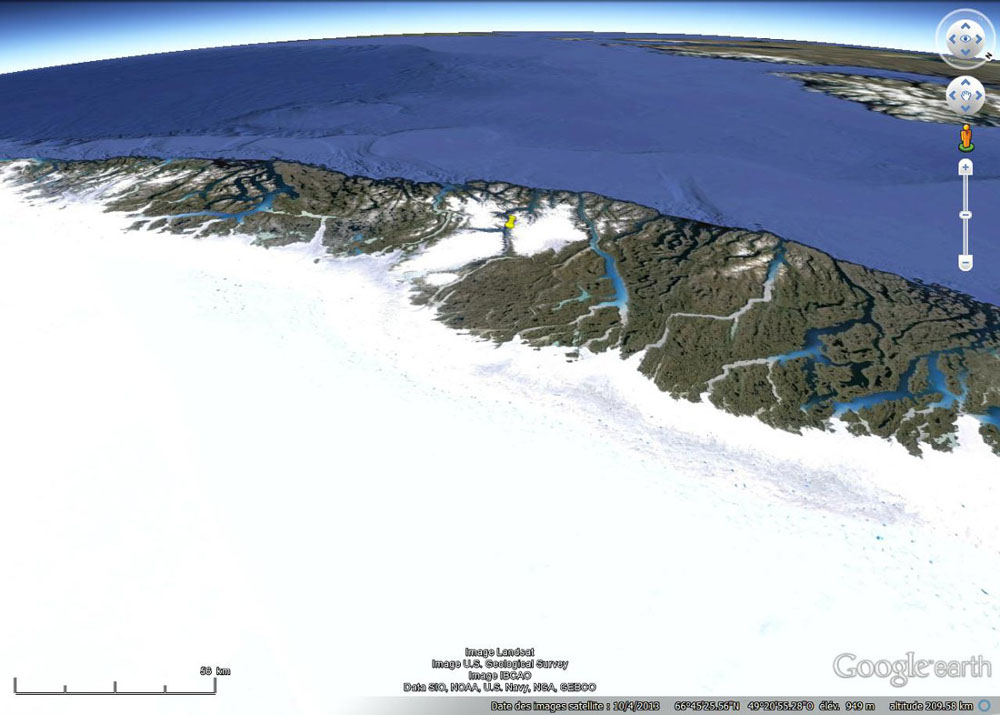 Localisation du fjord précédent sur la côte Ouest du Groenland