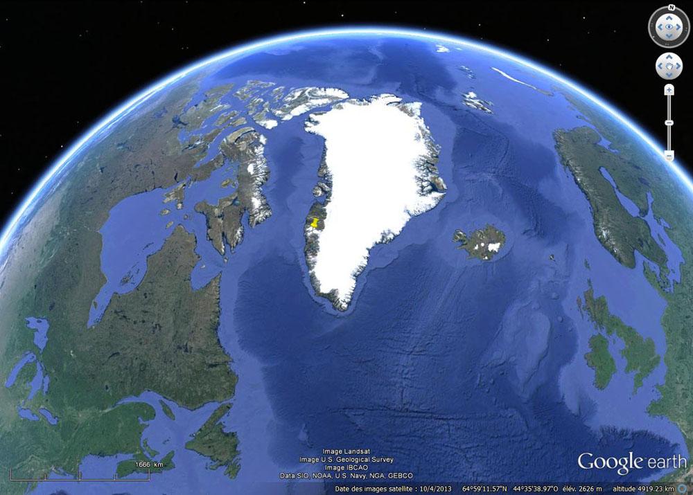Localisation du fjord ci-dessus sur la côte Ouest du Groenland