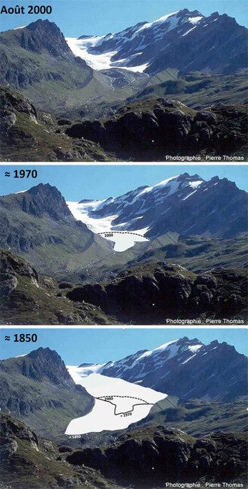 Reconstitution, sur fond de l'état en 200, de l'avancée du glacier de l'Invernet en 1970 et 1850