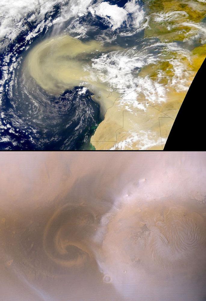 Tourbillons dans les atmosphériques terrestre et martienne