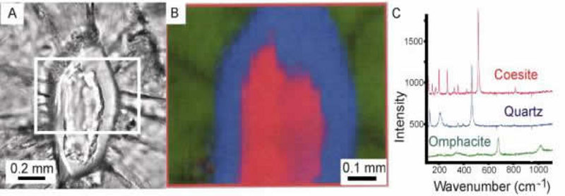 Exemple d'une zone de lame mince analysée par Spectroscopie Raman