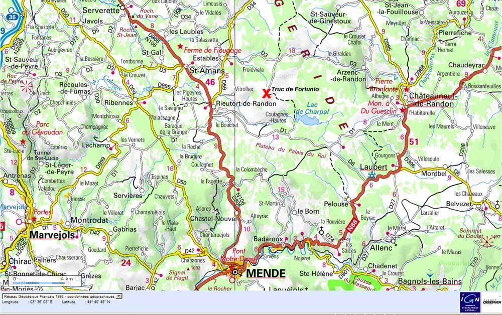 Localisation du Truc de Fortunio en Lozère sur fond IGN