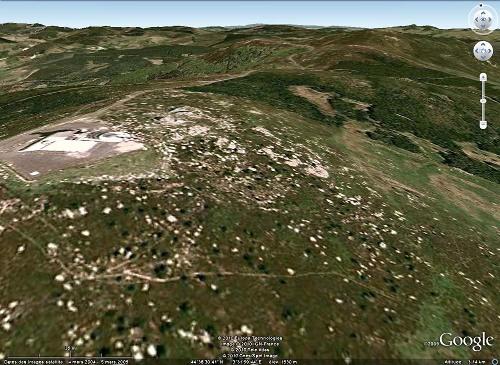 Vue Google Earth du Truc de Fortunio, Lozère