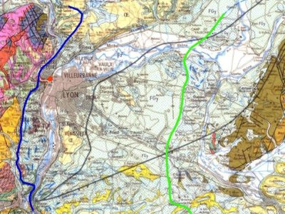 """Carte de la région lyonnaise (BRGM) situant le """"Gros Caillou"""""""