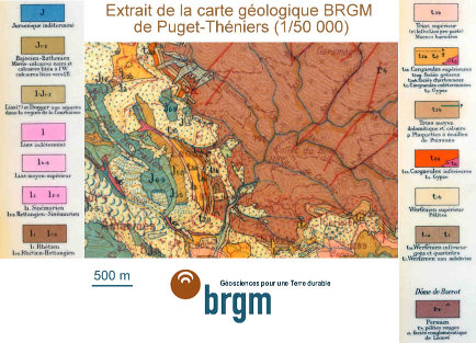 Carte géologique de Puget Théniers à 1/50000