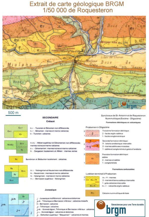 Extrait de la carte géologique de Roquestéron (BRGM 1/50000)