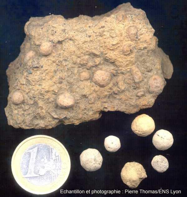 Échantillon de lapilli accrétionnés isolés (en bas) ou pris dans leur gangue de cendres fines (en haut), Mitad del Mundo, Équateur
