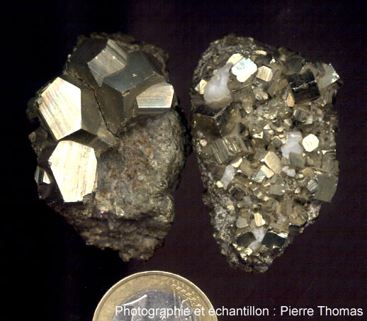 Cubes et pentagonododécaèdres de pyrite