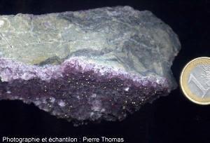 Fluorine et pyrite sur rhyolite du Carbonifère (mines d'Argentolles, Saône et Loire)