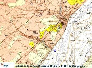 Extrait de la carte géologique de Beaugency