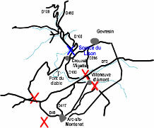 Carte simplifiée de la région de la source du Lison (croix bleues) et des différentes pertes l'alimentant (croix rouges)